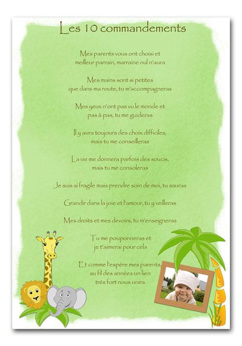 Sehr Les dix commandements du parrain et marraine DZ33