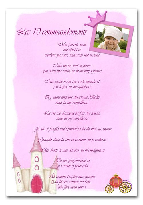 Assez Les dix commandements du parrain et marraine QX77